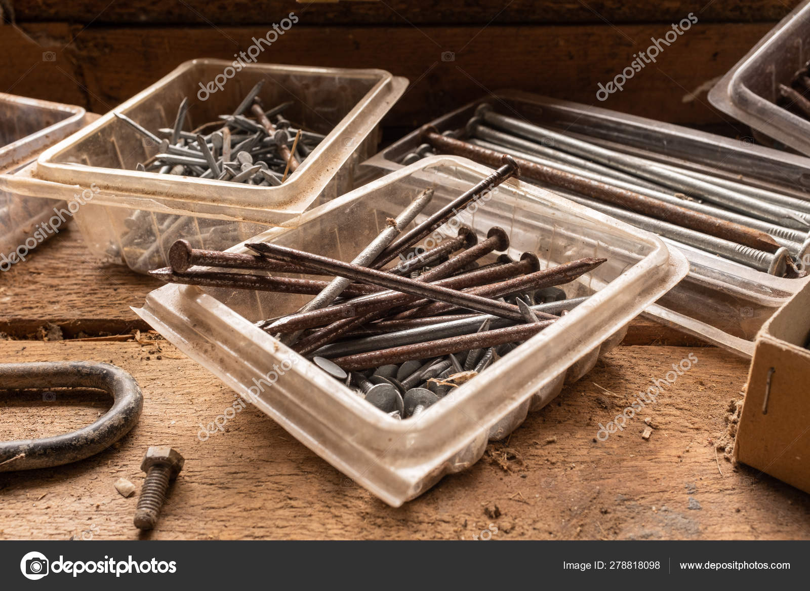 Brilliant A Close Up Of An Assortment Of Nails And Screws On A Wooden Squirreltailoven Fun Painted Chair Ideas Images Squirreltailovenorg
