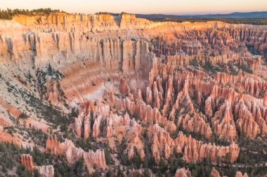 The stunning Bryce Canyon bowl in all its glory before sunrise, amazing sandstone hoodoo with various shades of oranges and reds nobody in the image stock vector