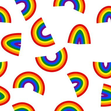 Seamless pattern with rainbow. LGBT icons. Flag LGBT. Colorful vector illustration. Love wins. Logo symbols. Gay pride collection. Design for banner, flyer,  textile, fabric, packing, website. icon