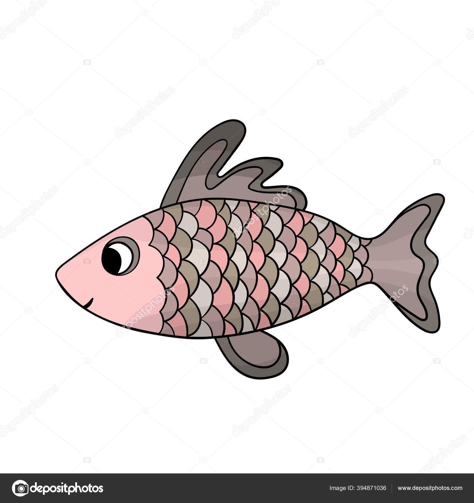 depositphotos 394871036 stock illustration cute colorful fish isolated white