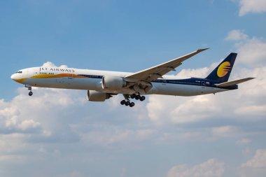 Jet Airways Boeing 777-300ER VT-JEU passenger plane landing at London Heathrow Airport
