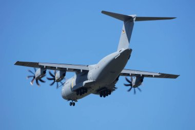 German Air Force Luftwaffe Airbus Military A400M Atlas 54+19 military transport plane arrival and landing for Airpower19 Zeltweg Airshow