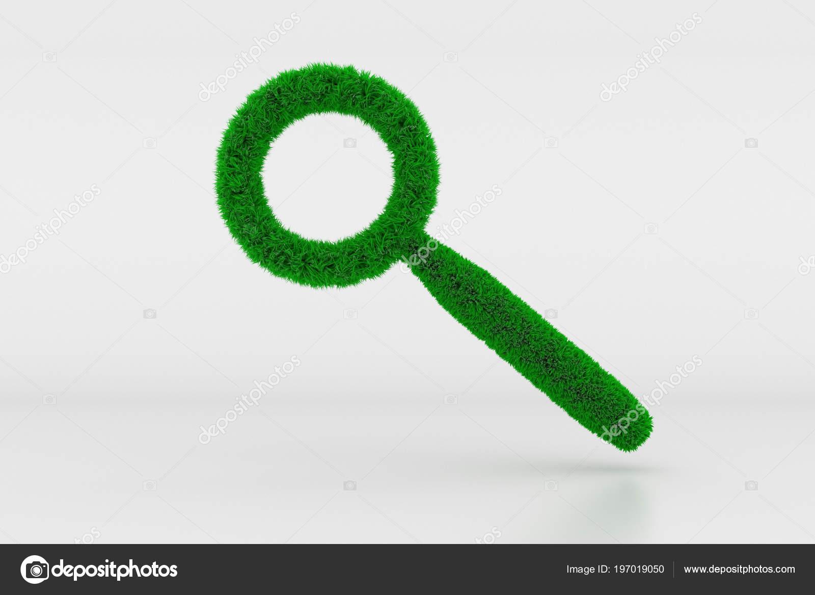 Ilustracion Forma Una Lupa Muestra Con Hierba Verde Foto De Stock