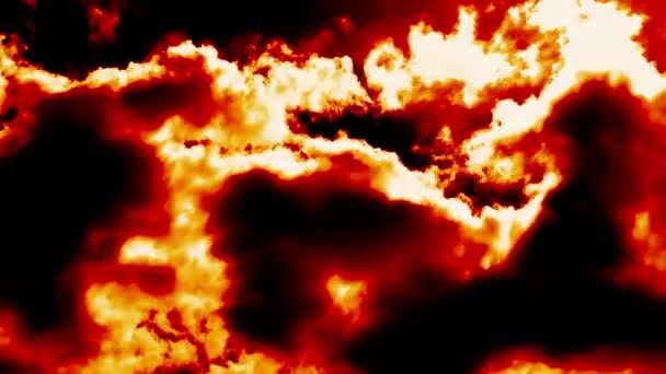 Hořící oheň mraky jako ďábel čert