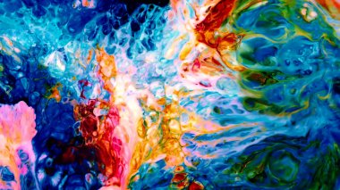 Abstract Beauty of Art Ink Paint Explode Colorful Fantasy Spread. The Mixture of Food Ink on Milk and Soup did those amazing shapes. Nature is doing so no model release needed.