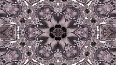 Abstract Metallic Industrial and Technology  Concept Symmetric Pattern Ornamental Decorative Kaleidoscope Movement Geometric Circle and Star Shapes