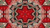 Abstract Ethnic Authentic Symmetric Pattern Ornamental Decorative Kaleidoscope Movement Geometric Circle and Star Shape