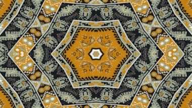 Abstract Ethnic Authentic Symmetric Pattern Ornamental Decorative Kaleidoscope Movement Geometric Circle and Star Shape