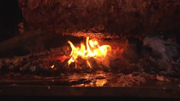 Dřevěný oheň a maso