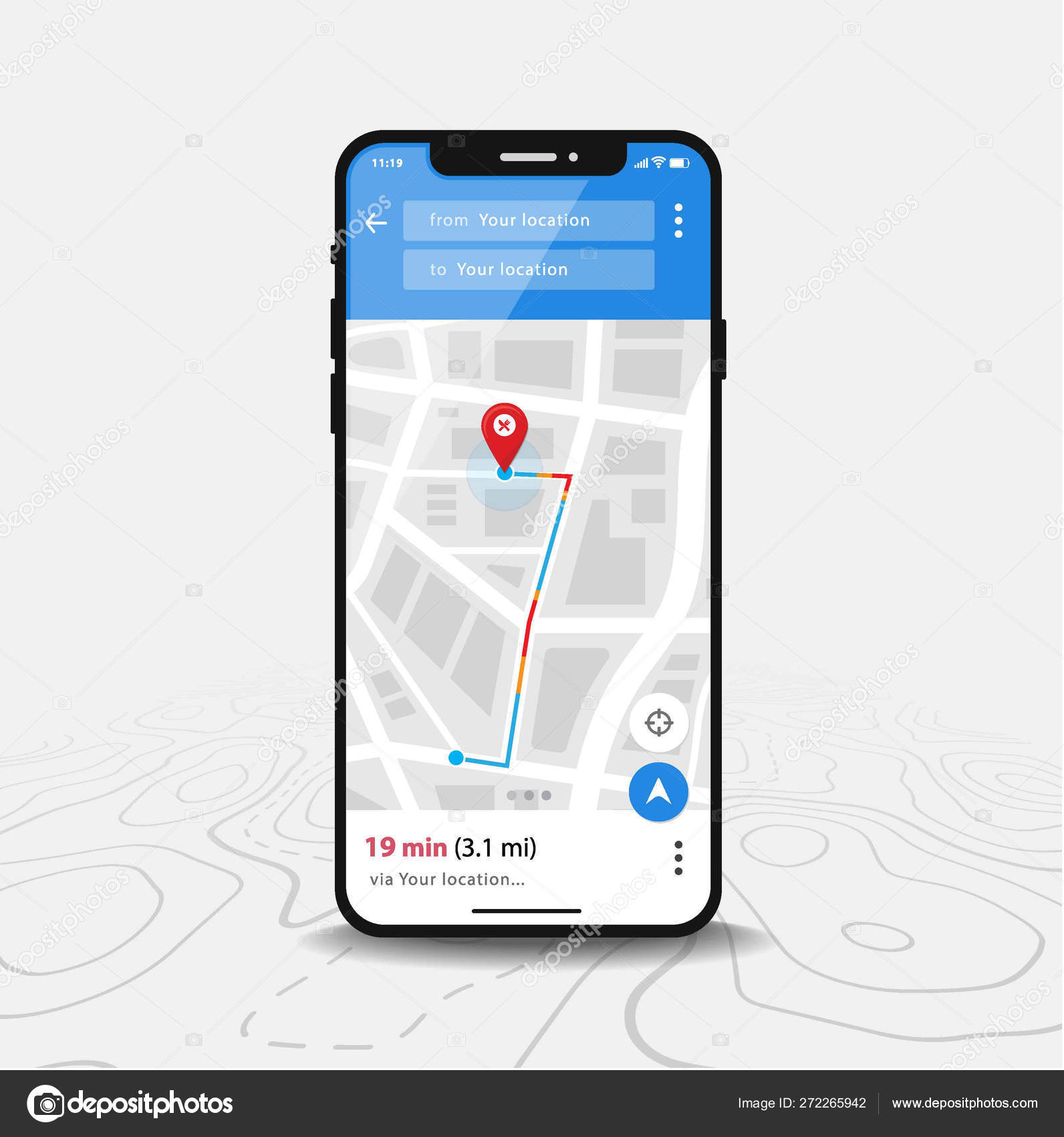 Map Gps Navigation Smartphone Map Application And Red Pinpoint On