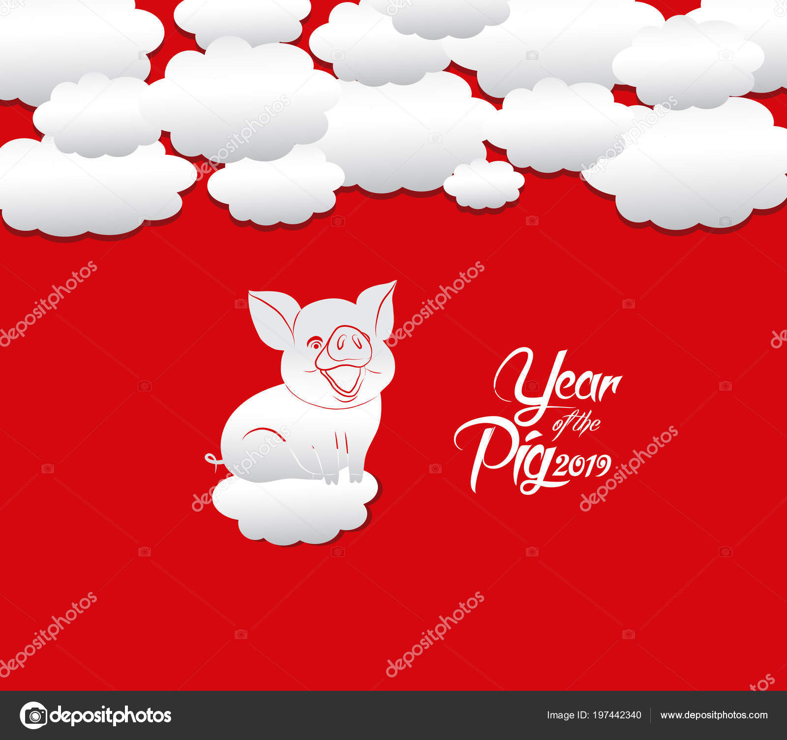 Oriental Happy Chinese New Year 2019 Year Pig Stock Vector