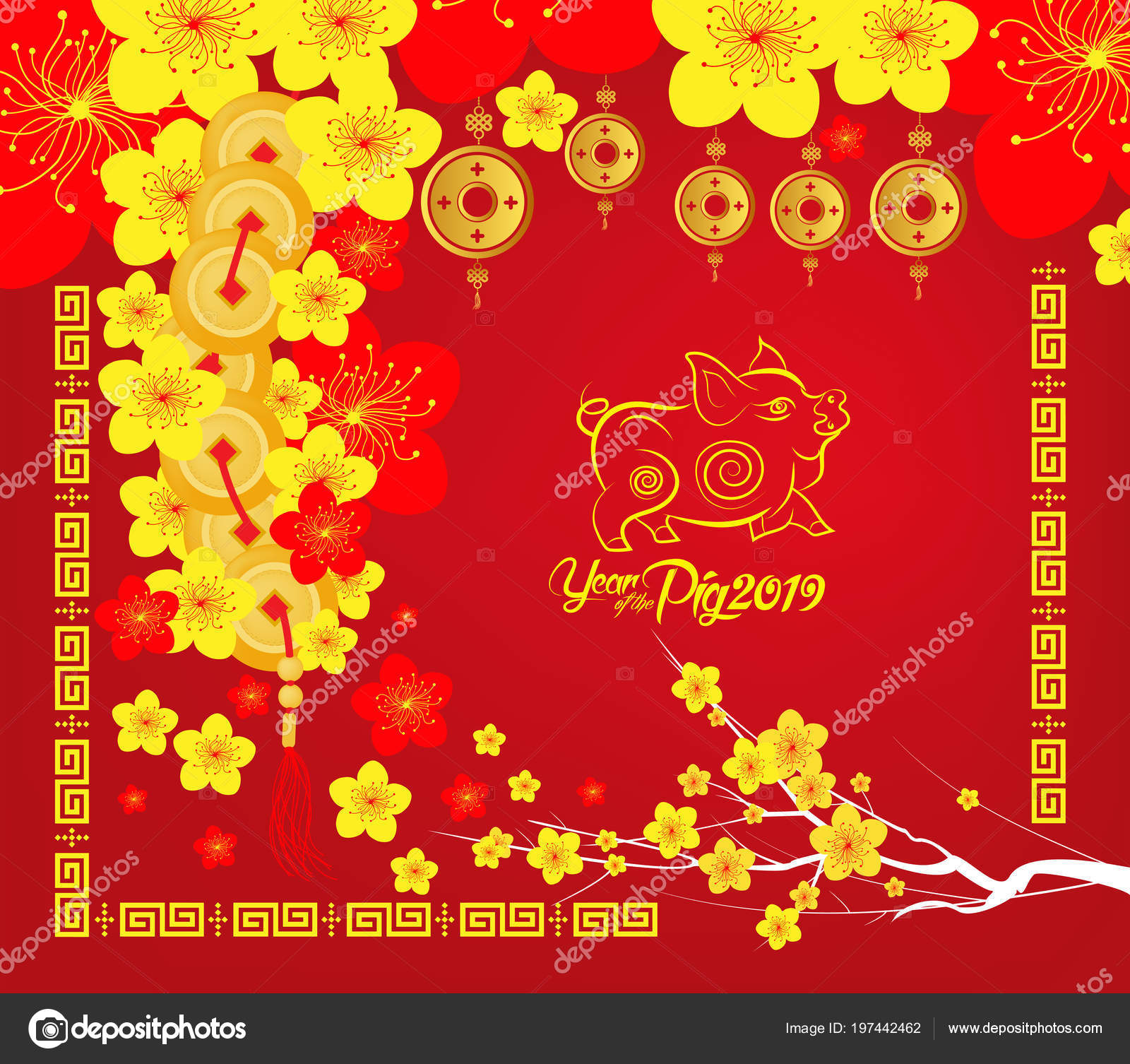 Happy Chinese New Year 2019 Card Year Pig Stock Vector