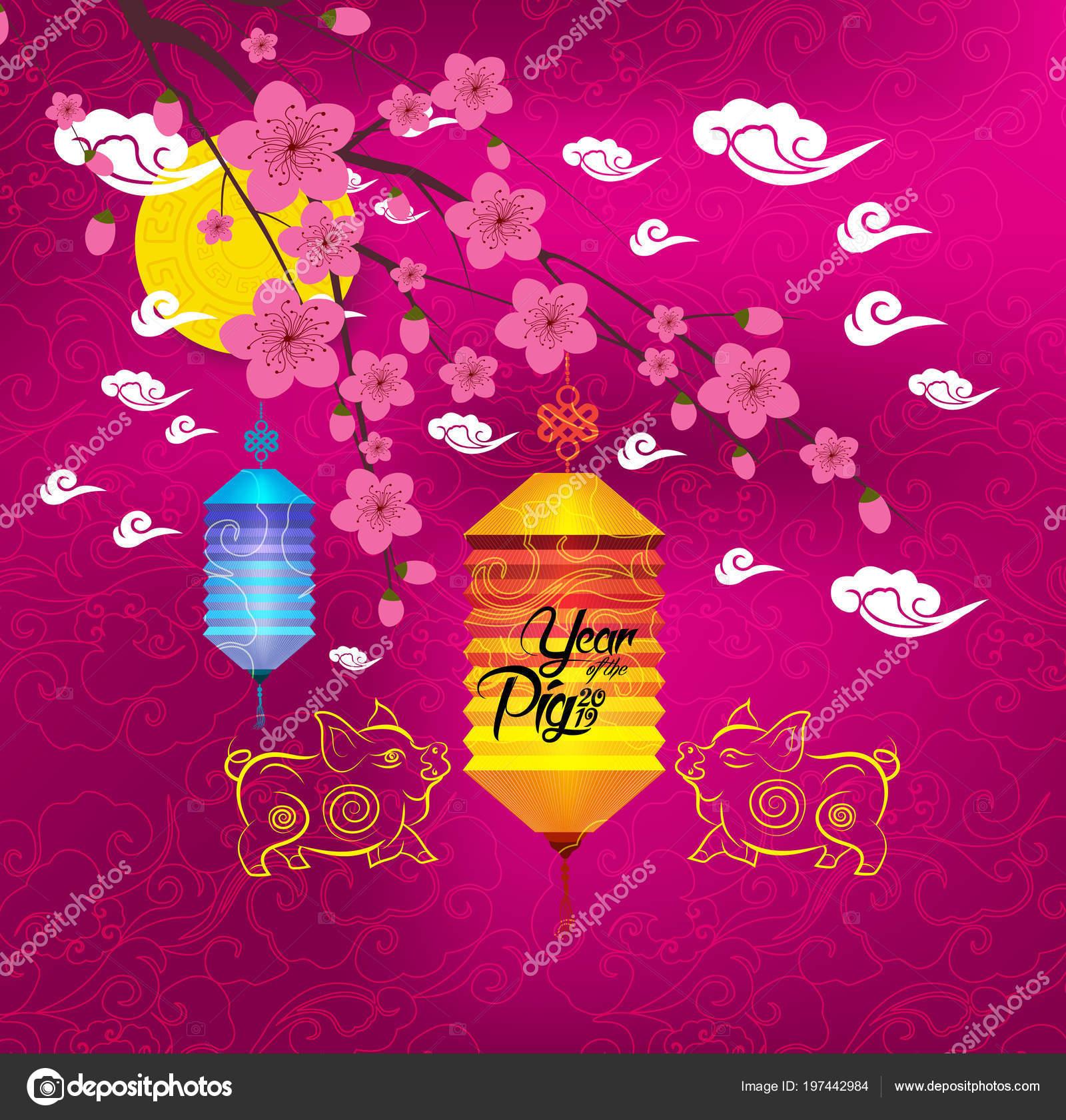 Oriental Chinese New Year Background Lantern Tea Cake Year Pig