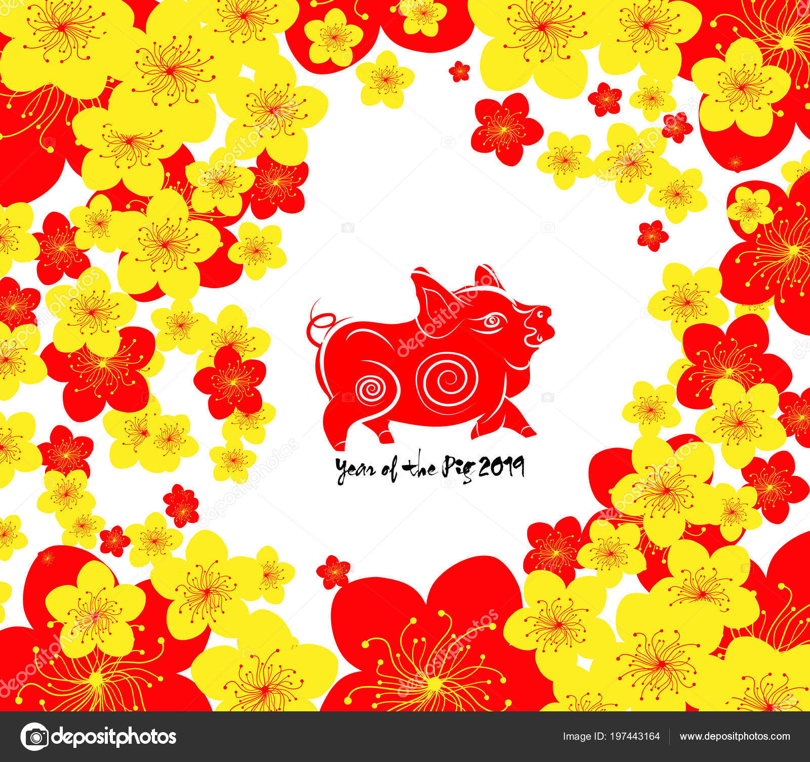 chinese new year template background year pig 2019 stock vector