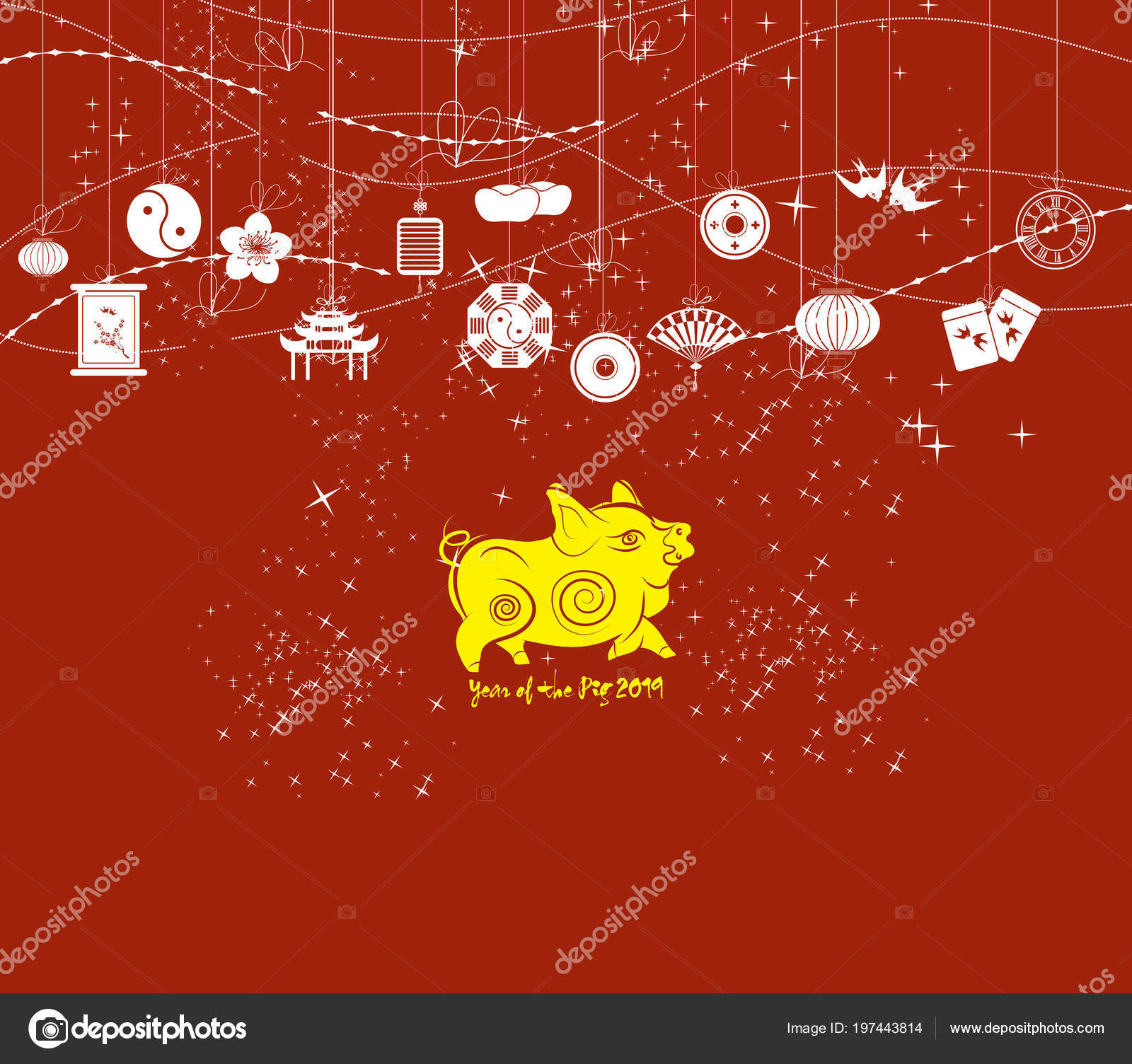 chinese new year background card print year pig 2019 stock vector