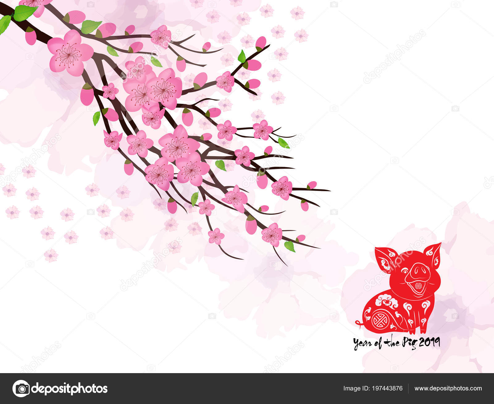 Chinese New Year Card Plum Blossom Lantern 2019 Stock Vector