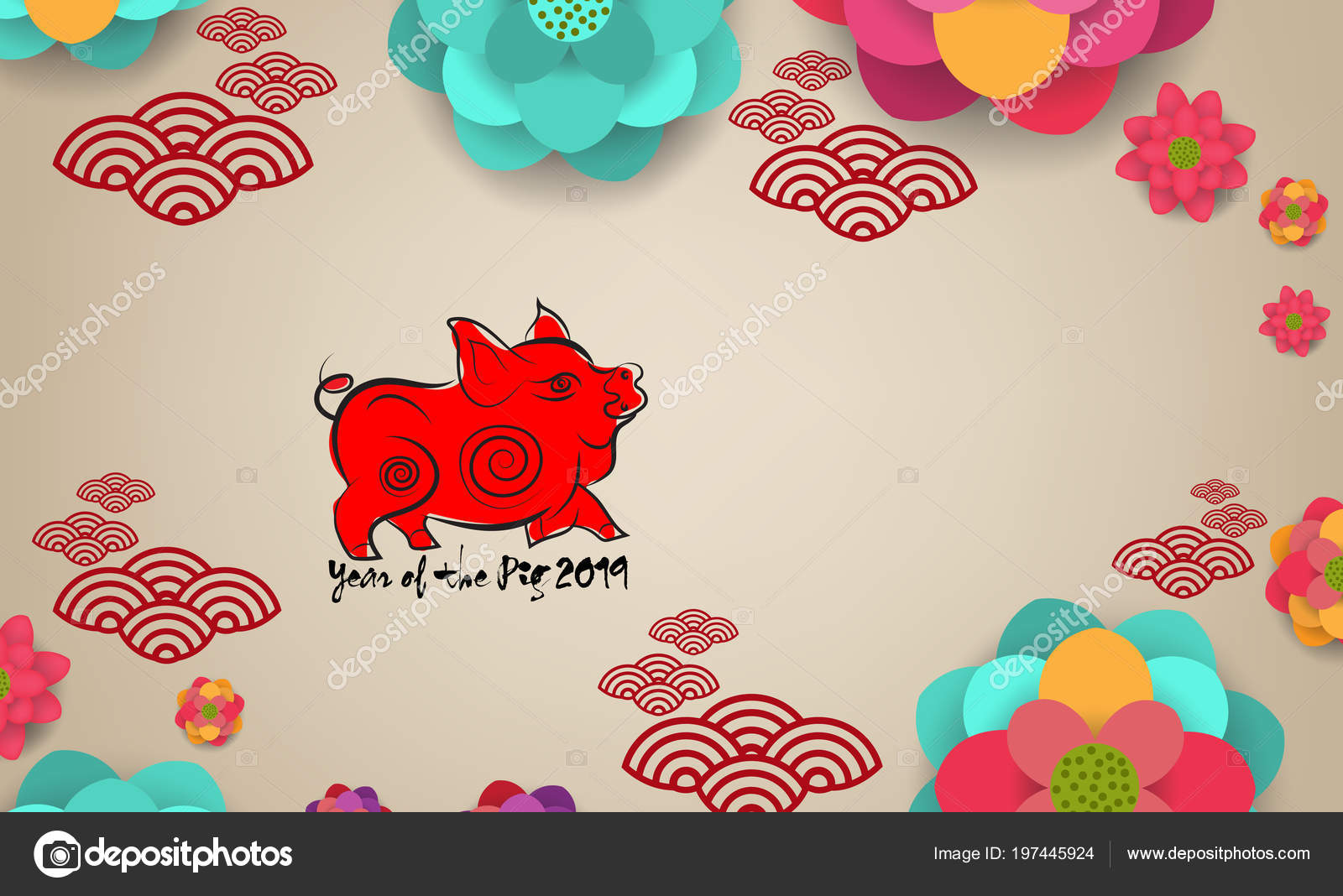 2019 Chinese New Year Greeting Card Carta Tagliata Con Maiale ...