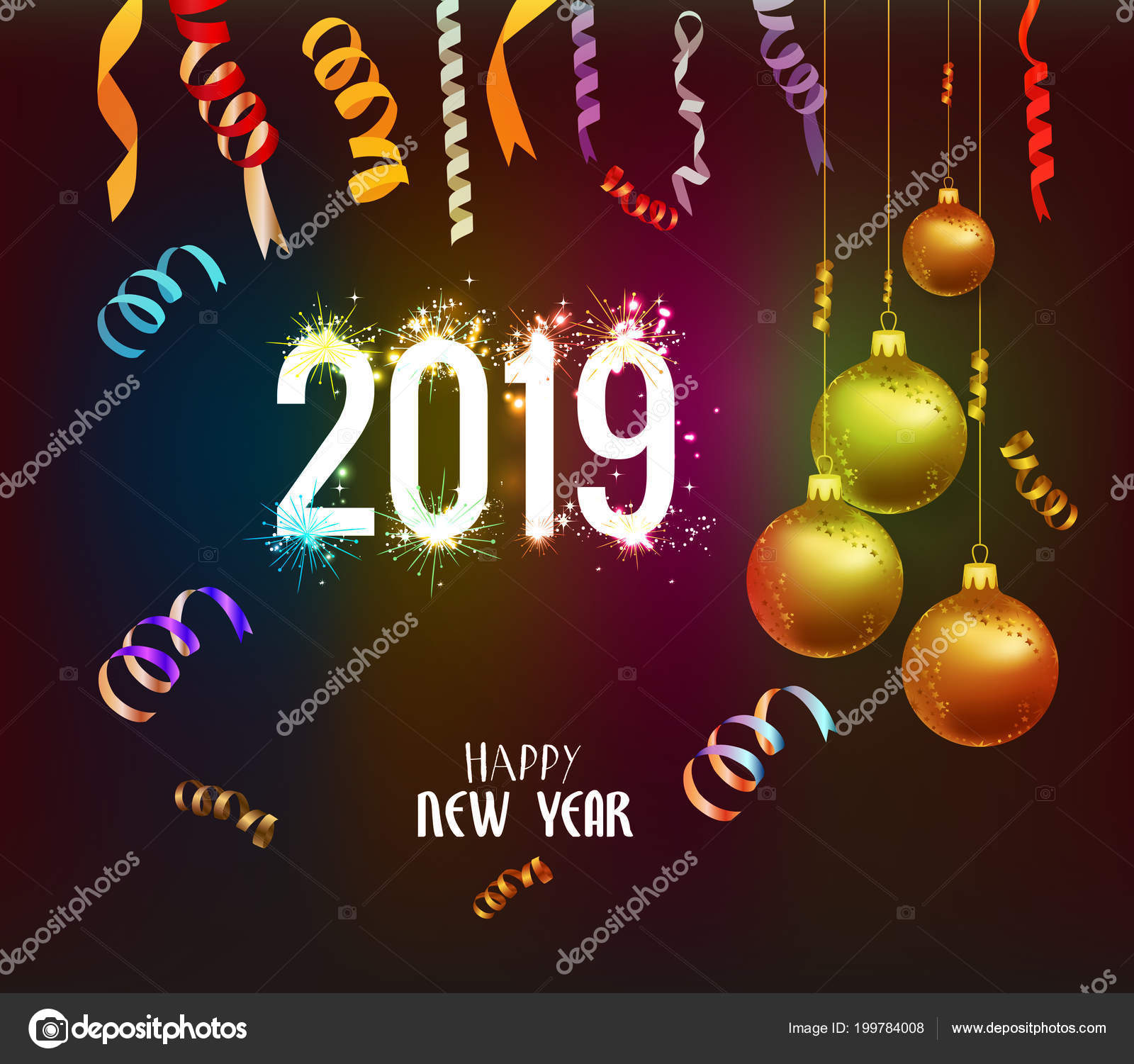 Happy New Year 2019 Background Christmas Confetti Gold Black Colors