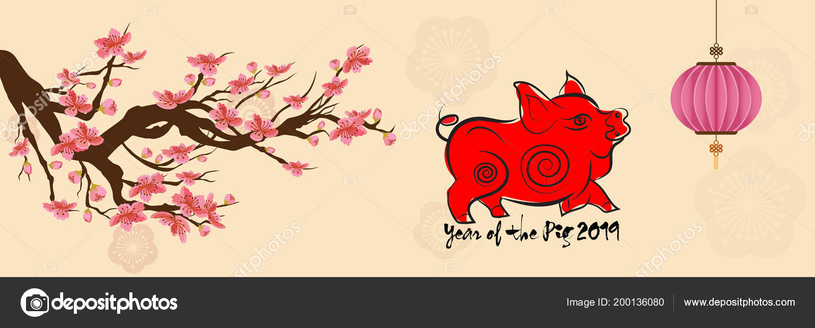 set banner happy new year 2019 greeting card chinese new stock vector