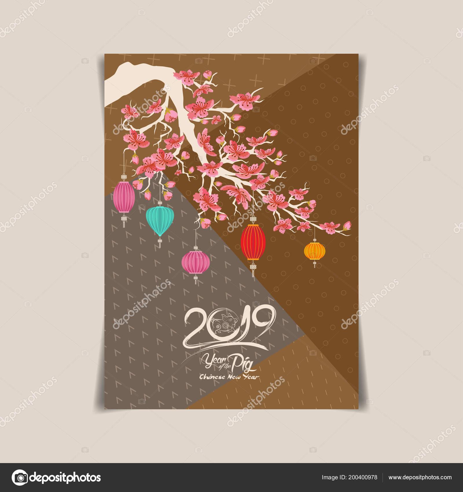 2019 Chinesisches Neues Jahr Gruß Poster Flyer Oder Einladung Design ...