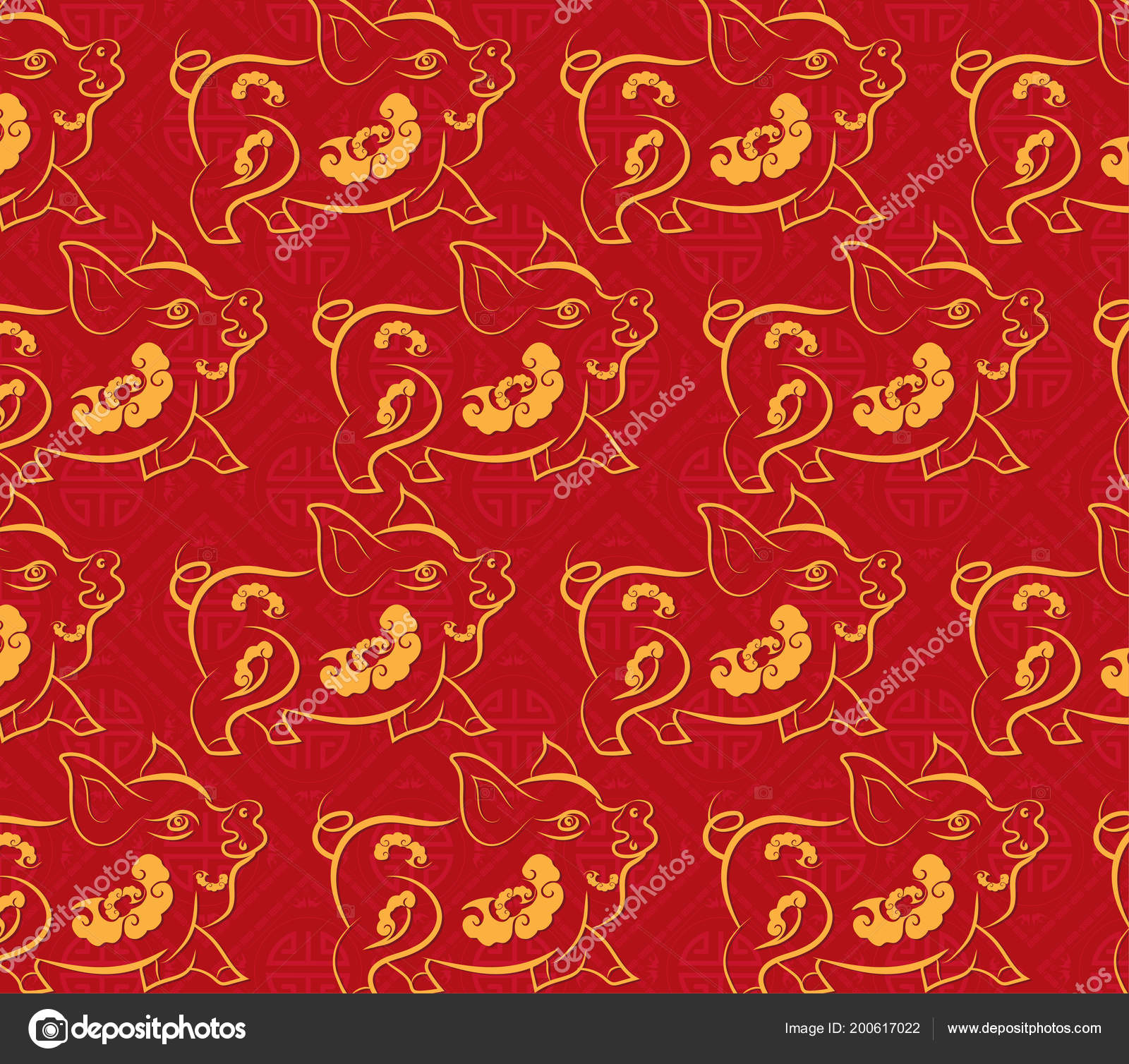 Chinese new year pattern background year pig stock illustration