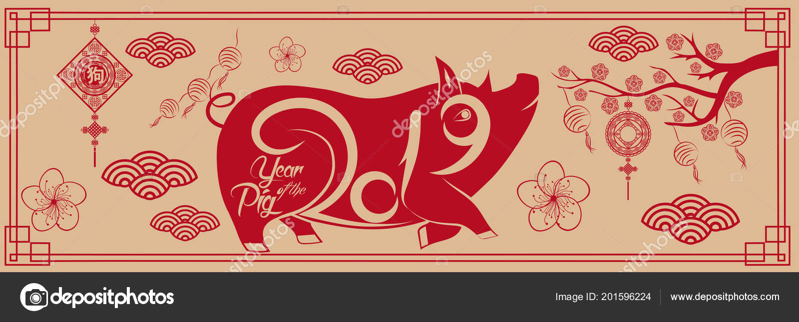 Happy New Year 2019 Chinese New Year Greetings Card Year Stock