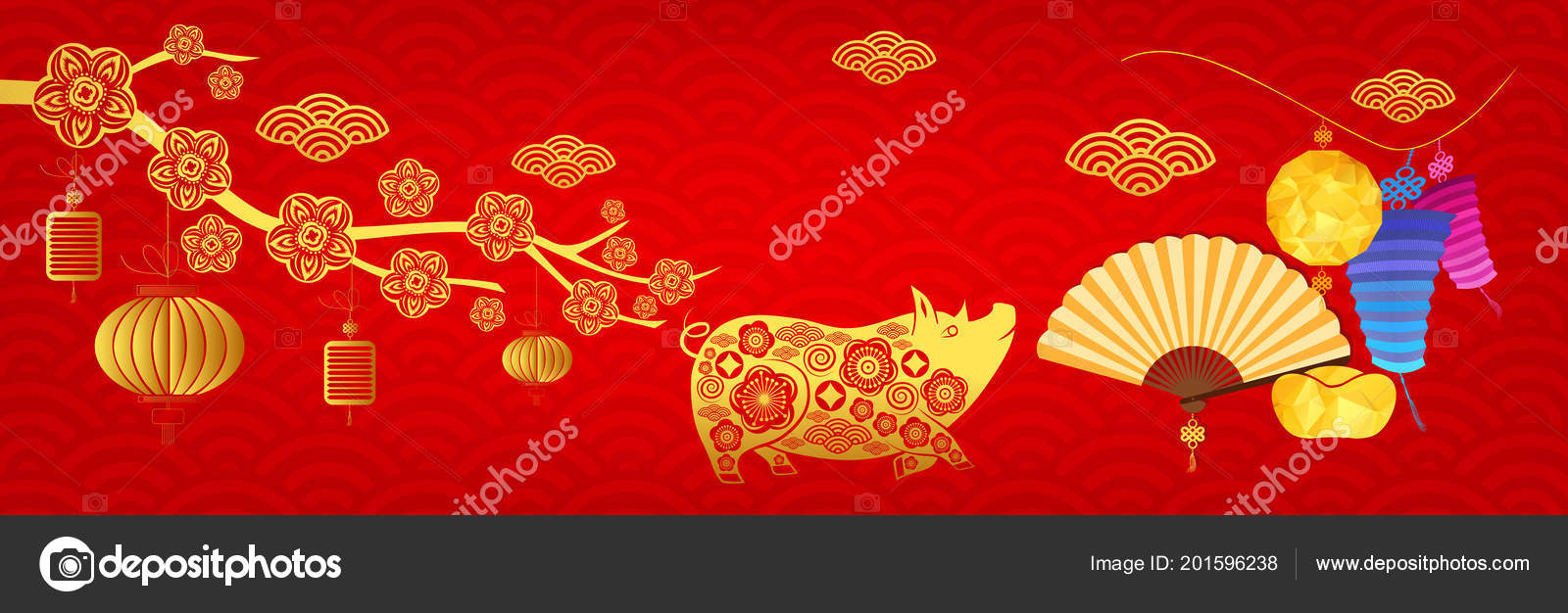 Happy New Year 2019 Chinese New Year Greetings Card Year