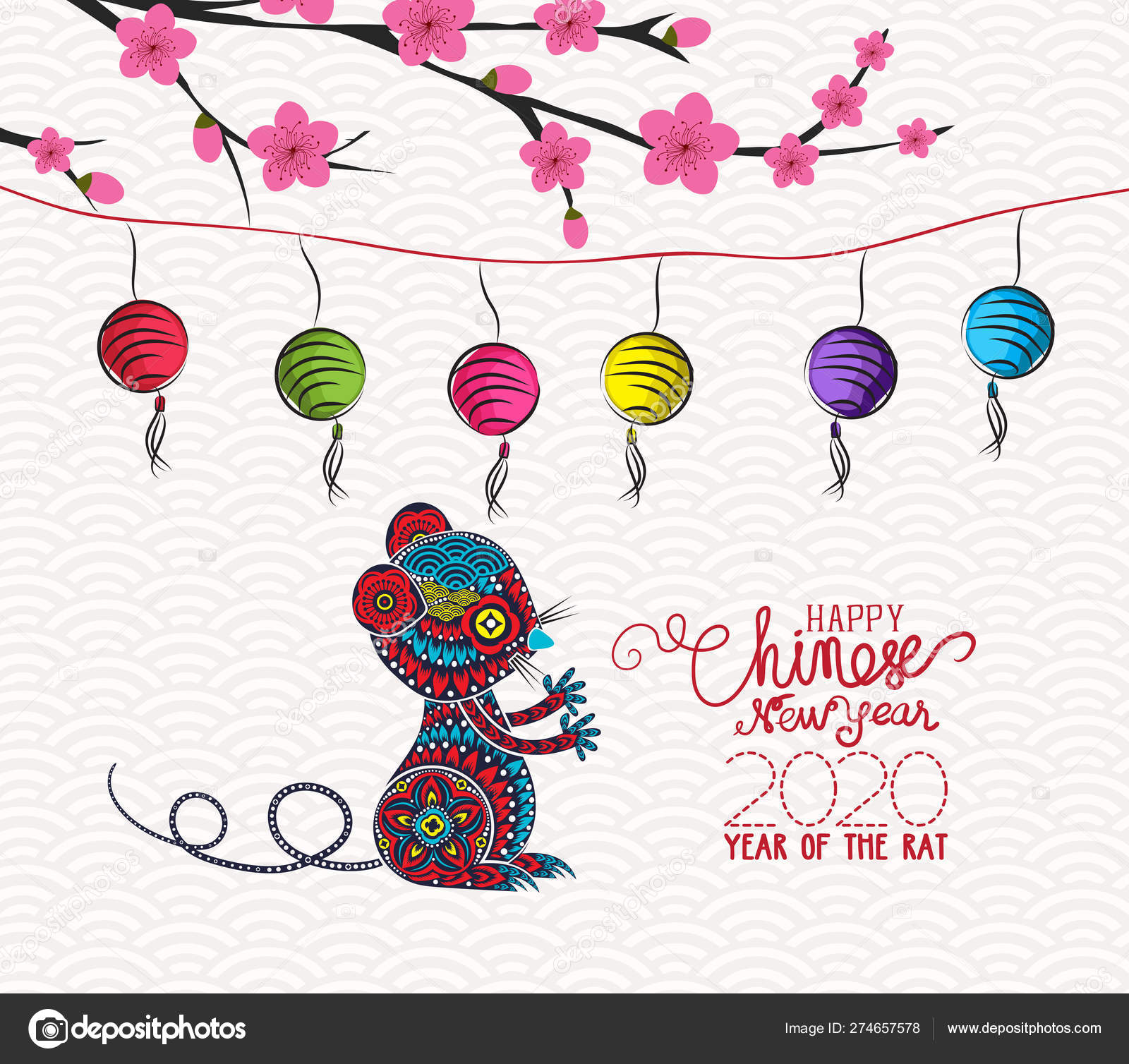 Chinese New Year 2020 Design Rat Plum Blossom Traditional ...