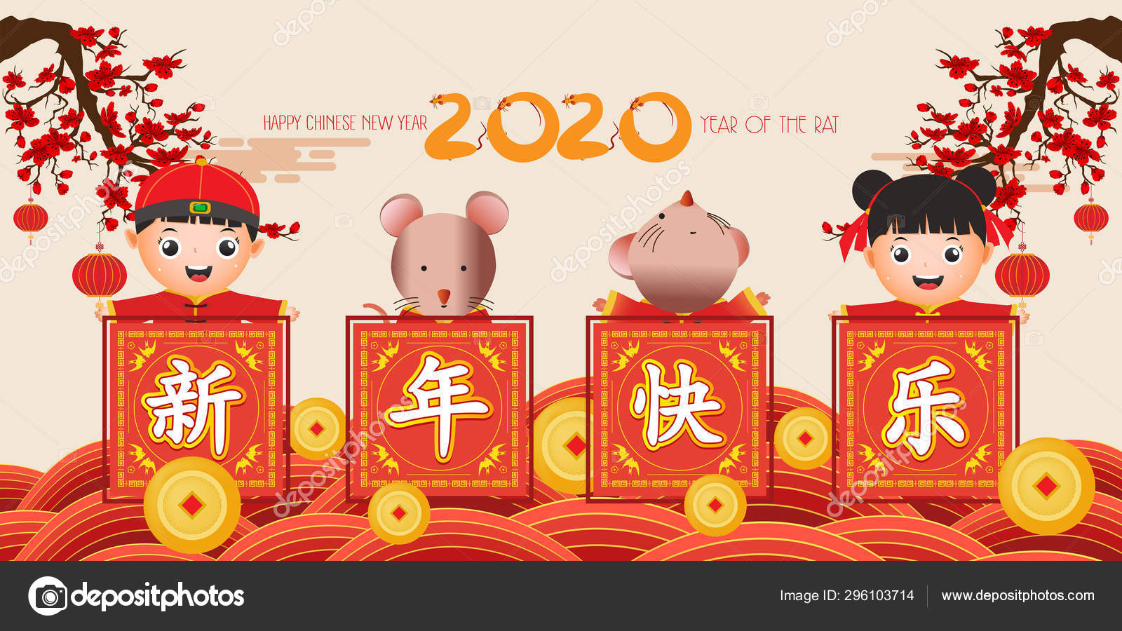 Happy New Year 2020 Chinese New Year Cute Boy And Girl Happy Smile The Year Of The Rat Translation Chinese New Year Stock Vector C Ngocdai86 296103714