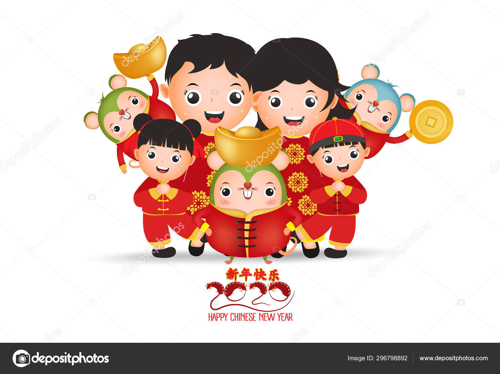 2020 Chinese new year - Year of the Rat. Set of cute ...
