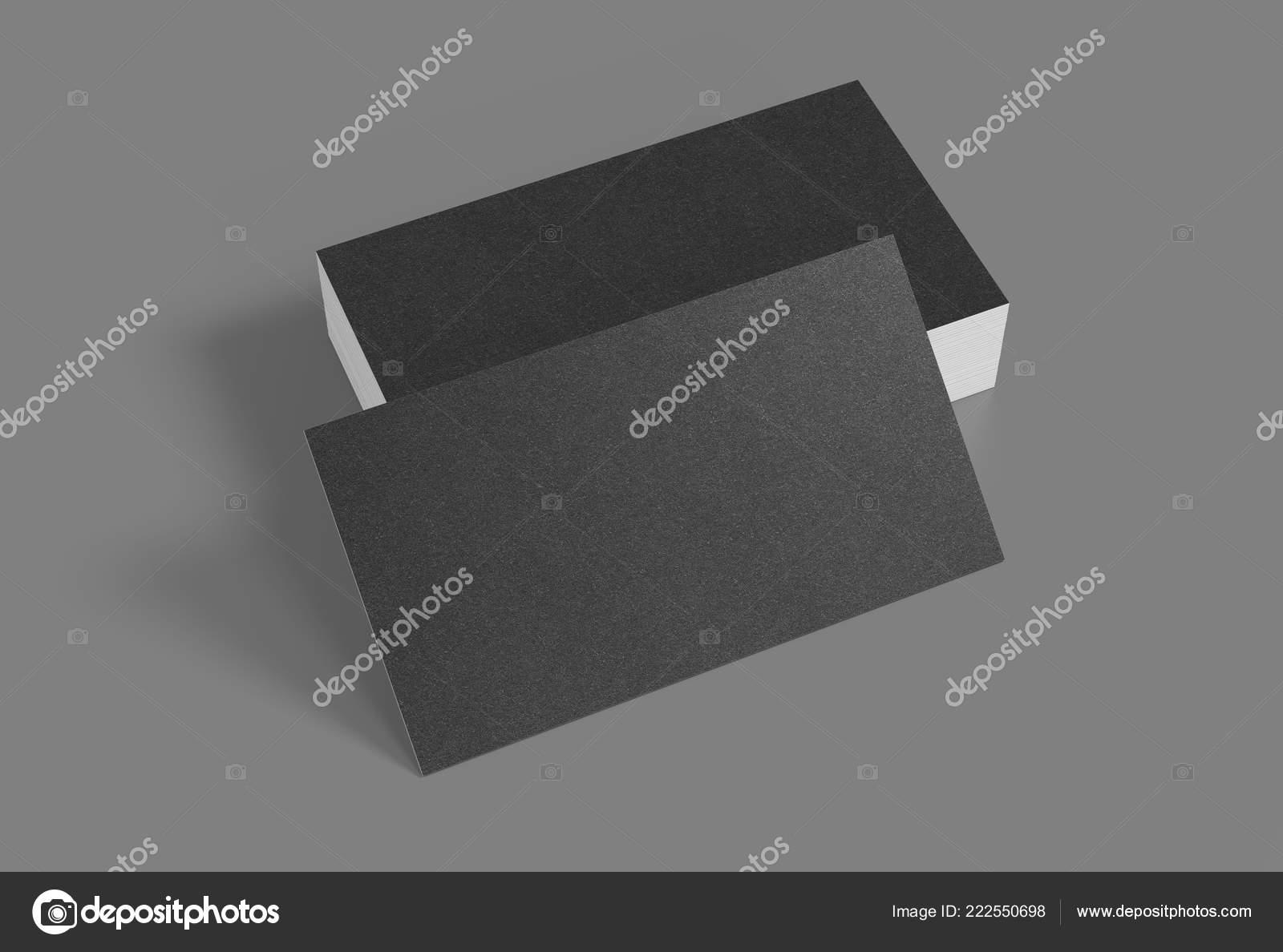Rendu 3D De La Carte Visite Cartes Noir Modele Vierge Sur Fond Gris Images Stock Libres Droits
