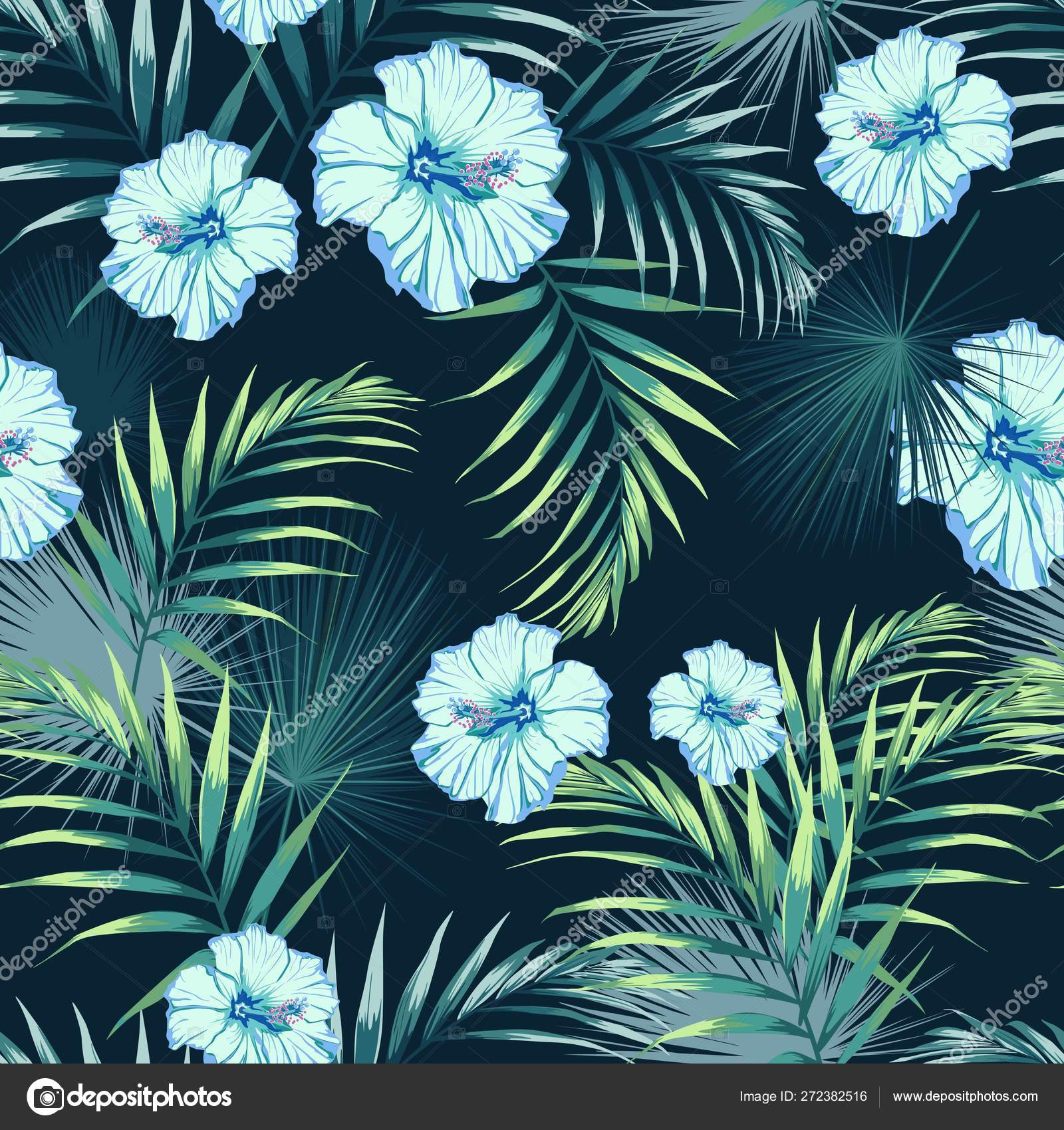 Seamless Pattern Tropical Leaves Paradise Blue Hibiscus Flowers ...