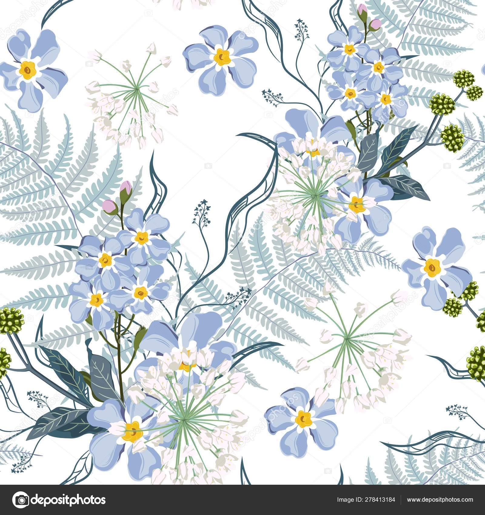 53f7b0e0a5f10 Spring Summer Blue Forget Flowers Herbs Fern Seamless Pattern ...
