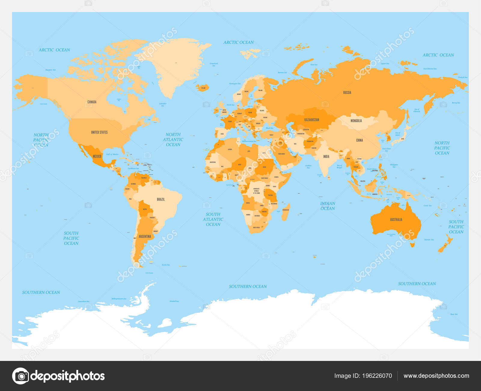 World map atlas. Colored political map with blue seas and oceans ...