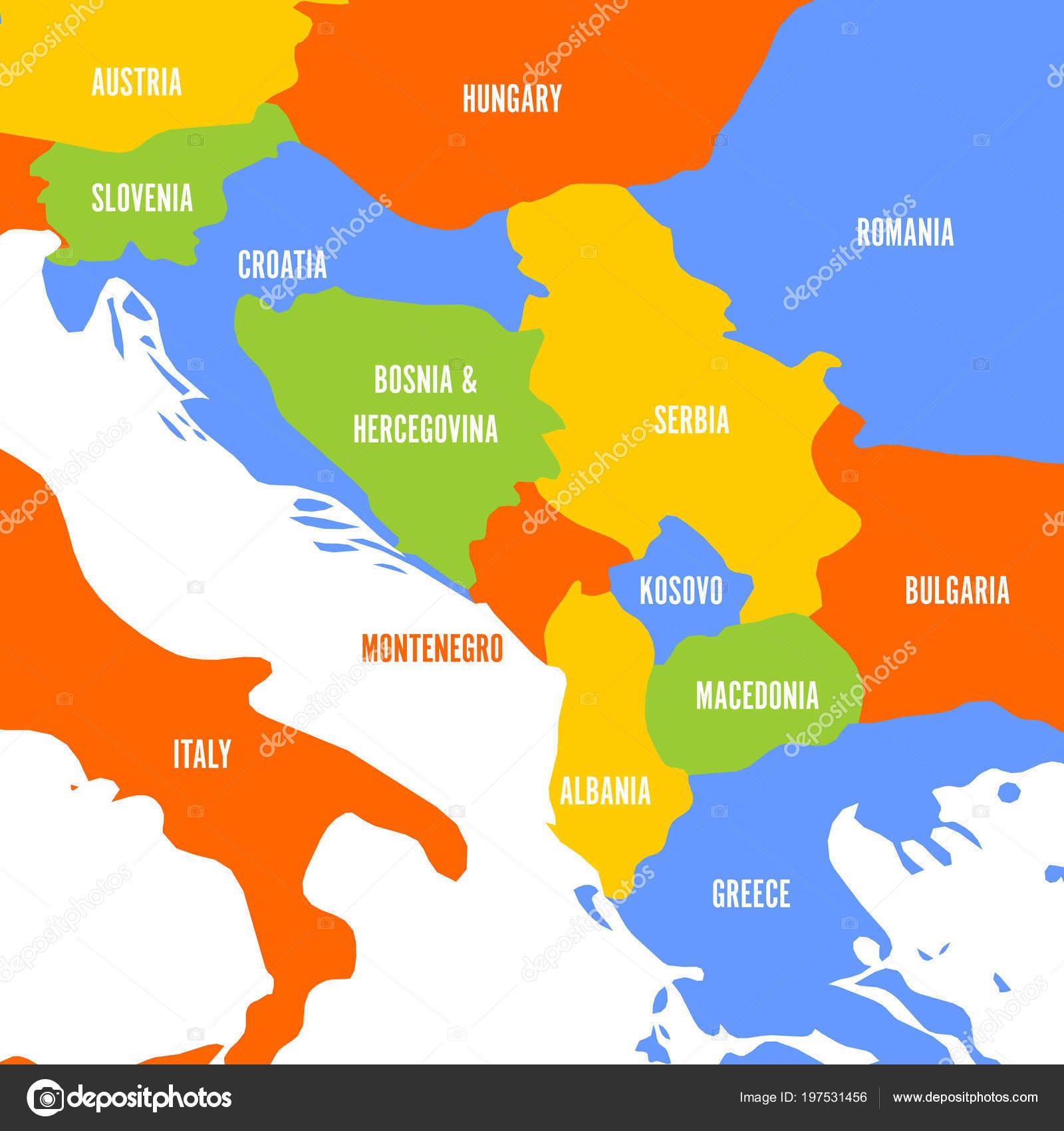 Political Map Of Balkans States Of Balkan Peninsula Colorful