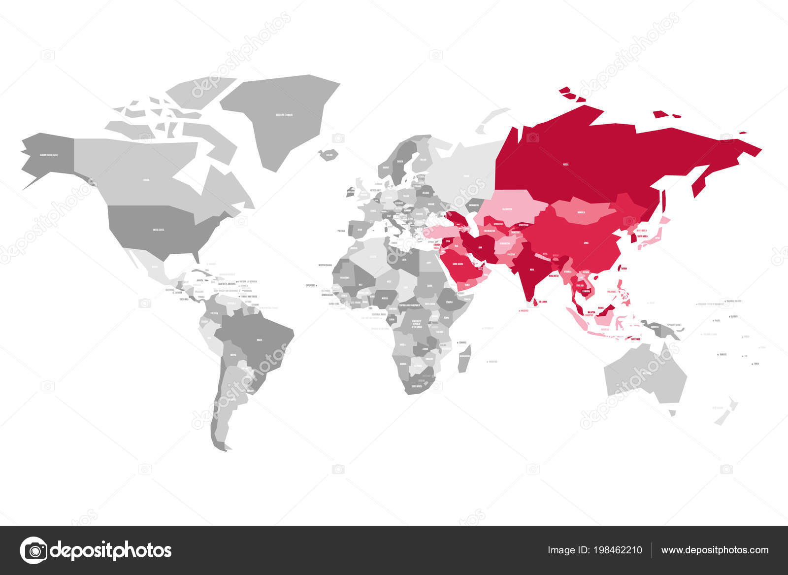 Map of World in grey colors with red highlighted countries of Asia Detailed Vector World Map With Selectable Countries on