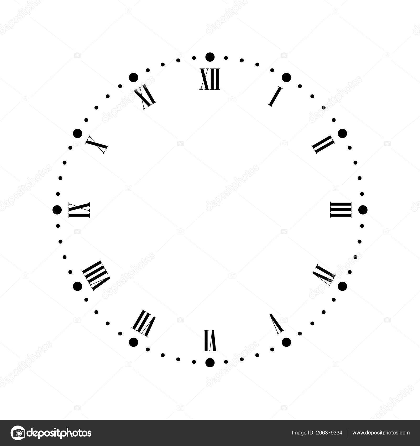 16bee8baa5 Mostrador de relógio vintage com números romanos. Pontos marcam horas e  minutos. Ilustração vetorial