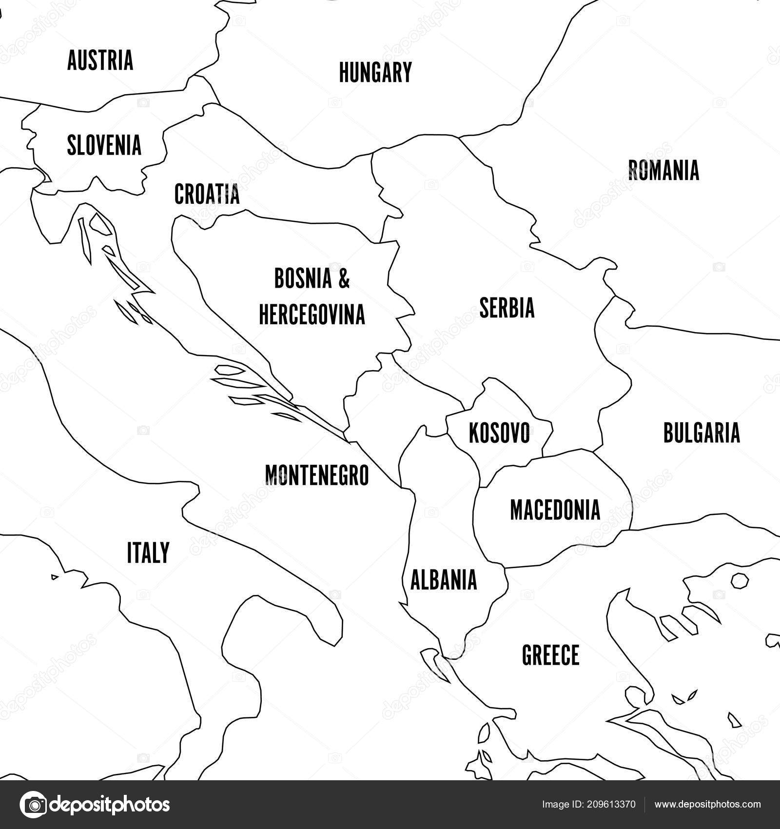 Political map of Balkans - States of Balkan Peninsula. Simple flat ...