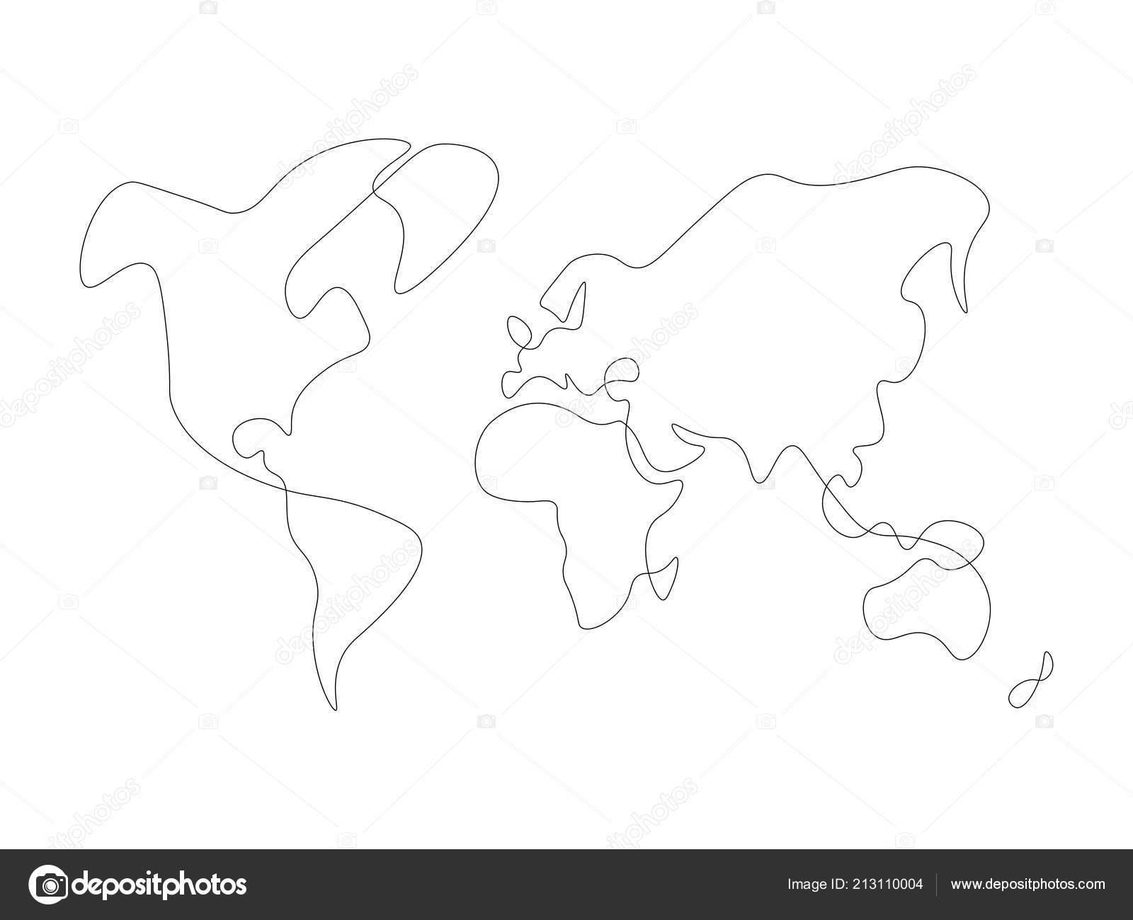 Hand Drawn Map Of The World.Hand Drawn Map Of World Solid Thin Vector Line Stock Vector