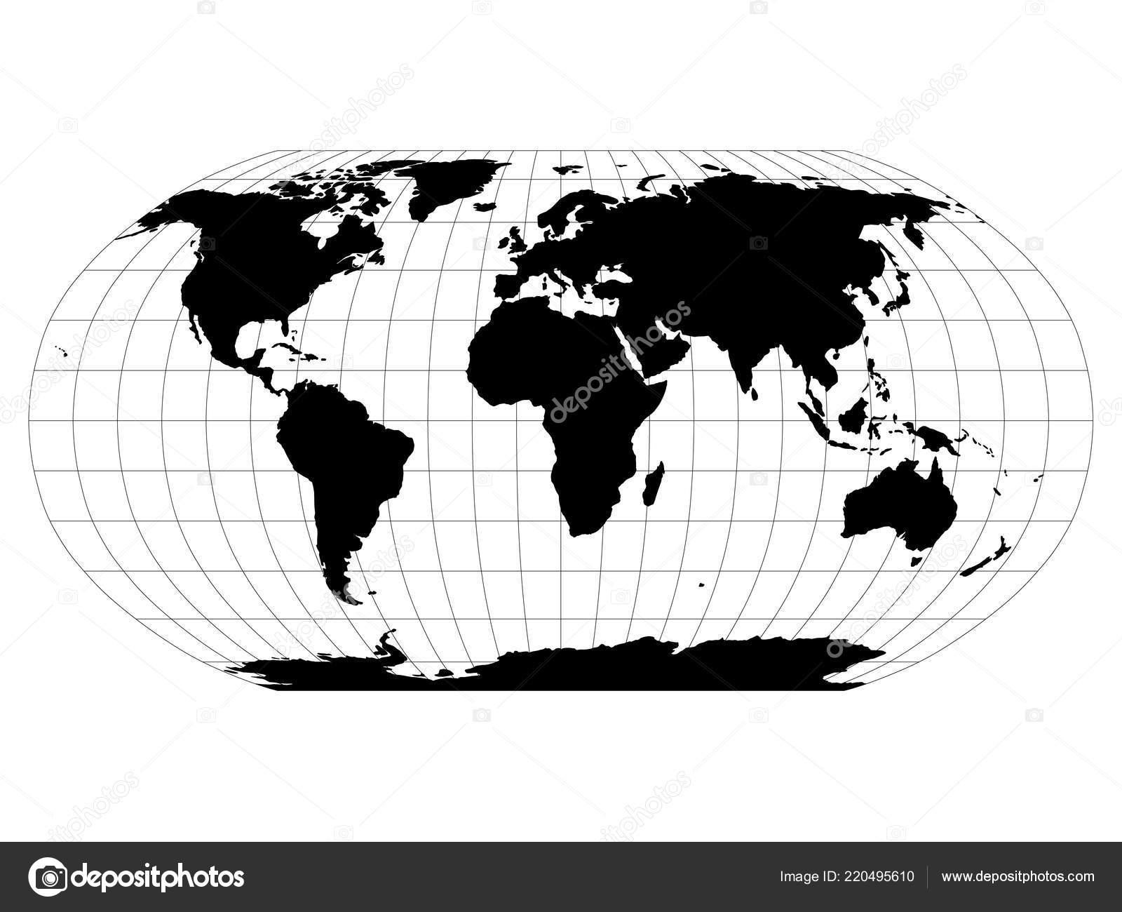 Cartina Del Mondo Con Meridiani E Paralleli.Mappa Del Mondo Nella Proiezione Di Robinson Con Griglia Di
