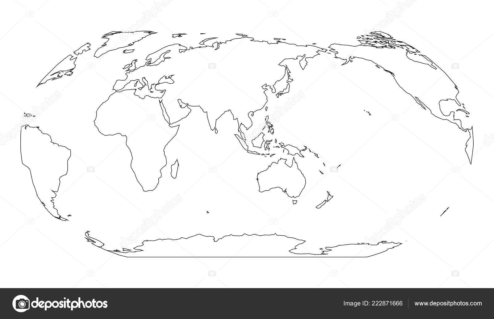 Outline map of World. Asia and Australia centered. Simple ...