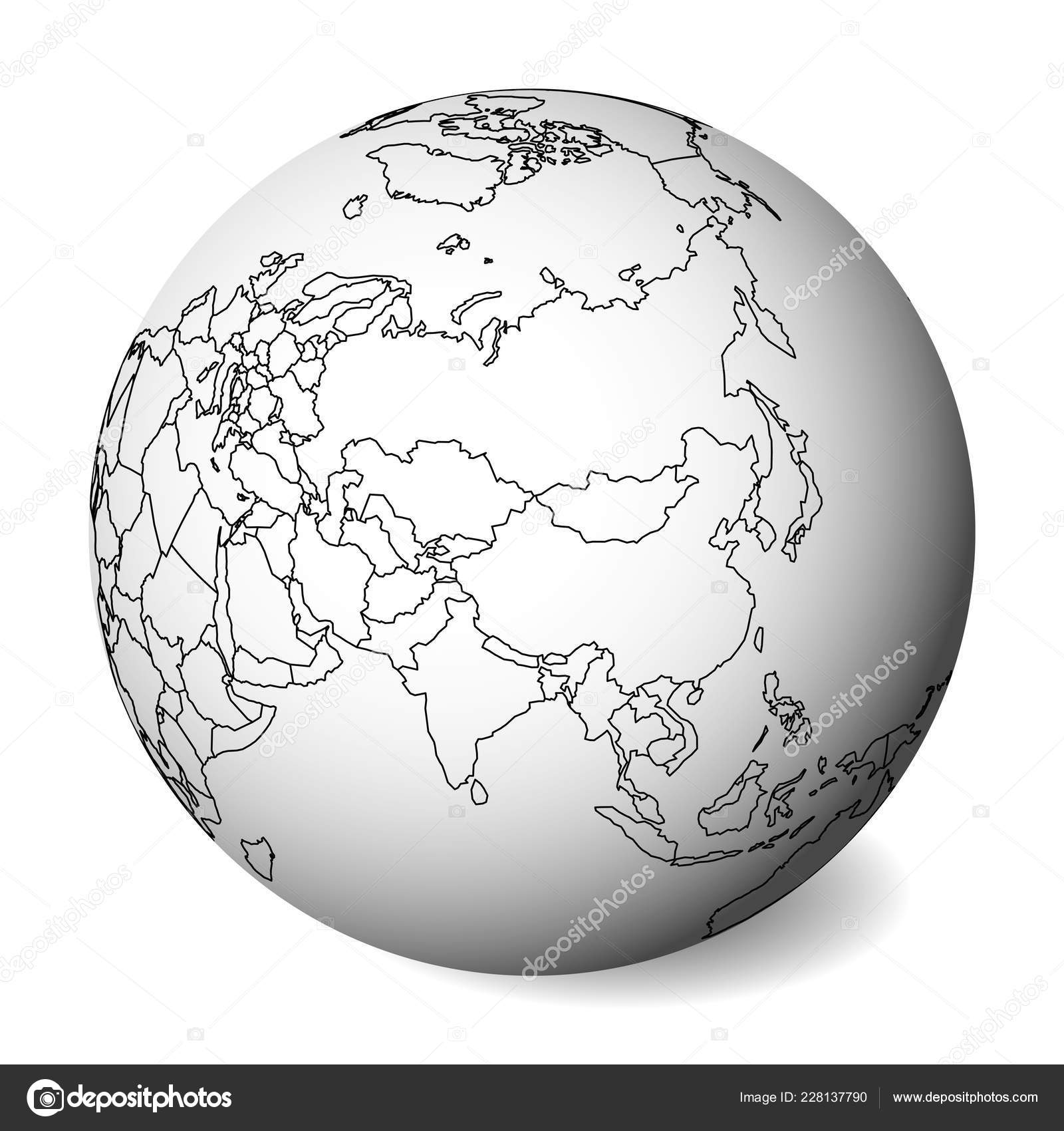 Blank political map of Asia. 3D Earth globe with black ...