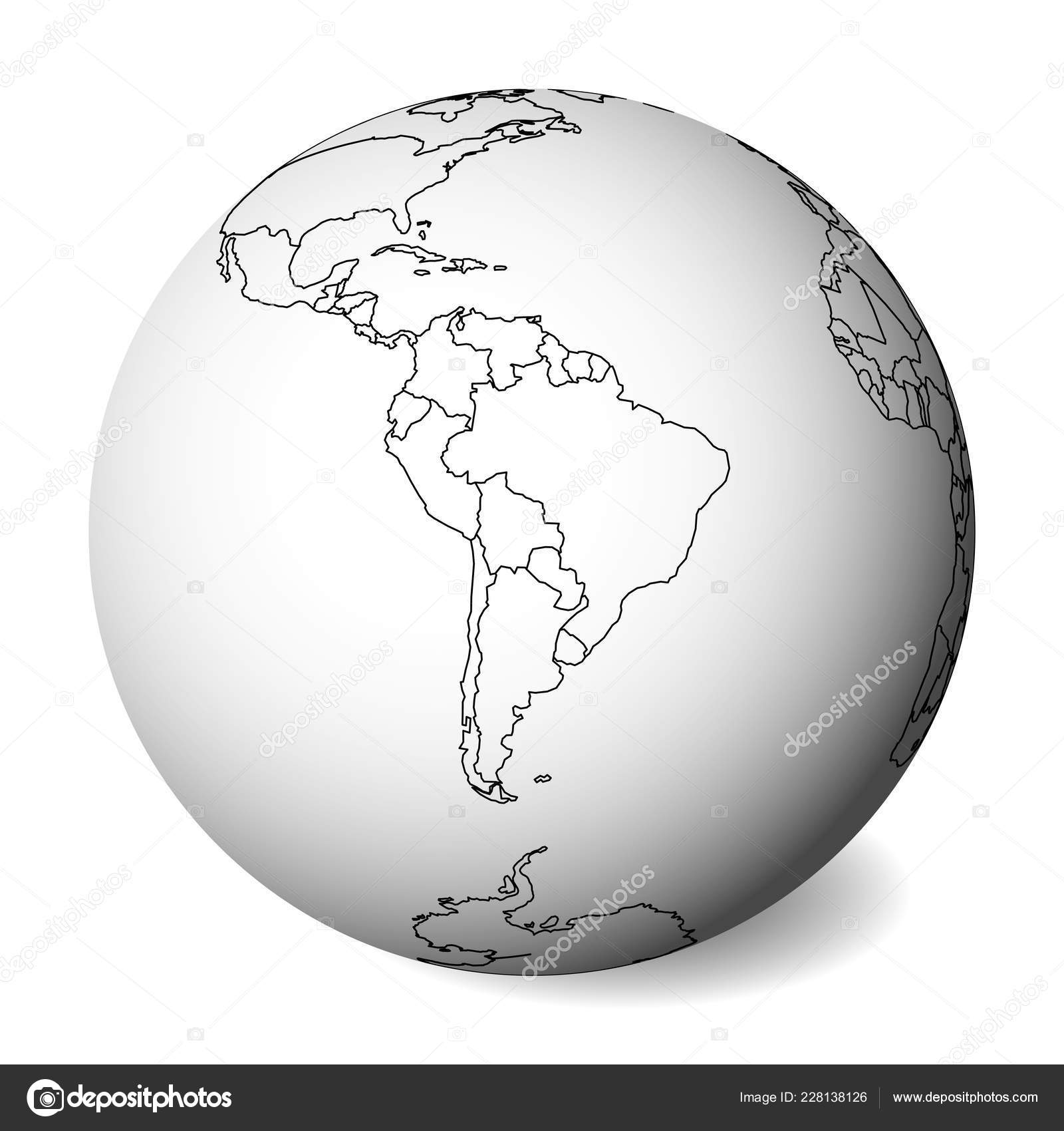 Blank political map of South America. 3D Earth globe with black ...