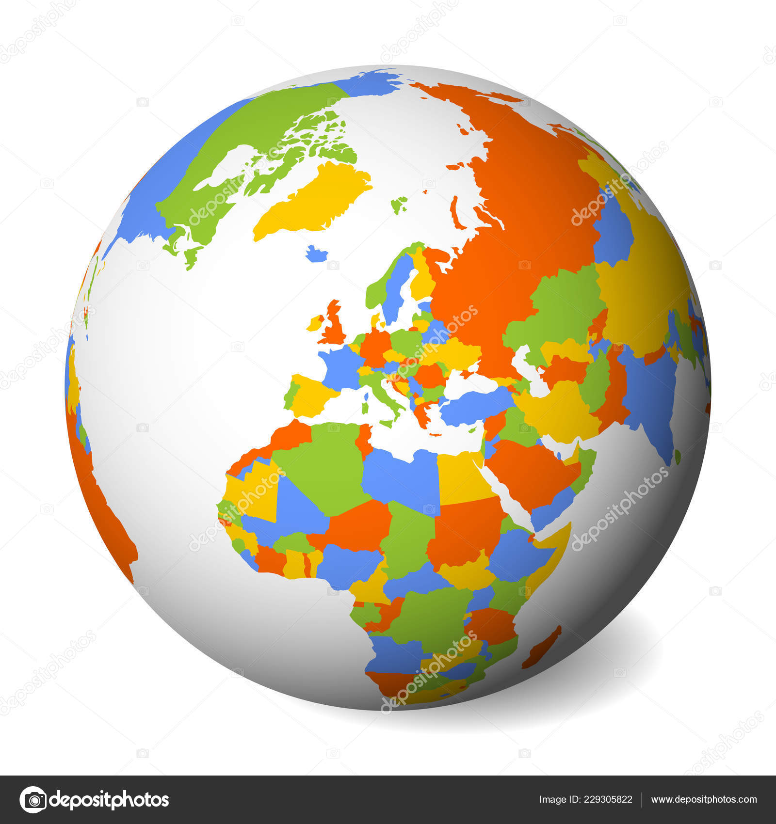 Blank political map of Europe. 3D Earth globe with colored map ...