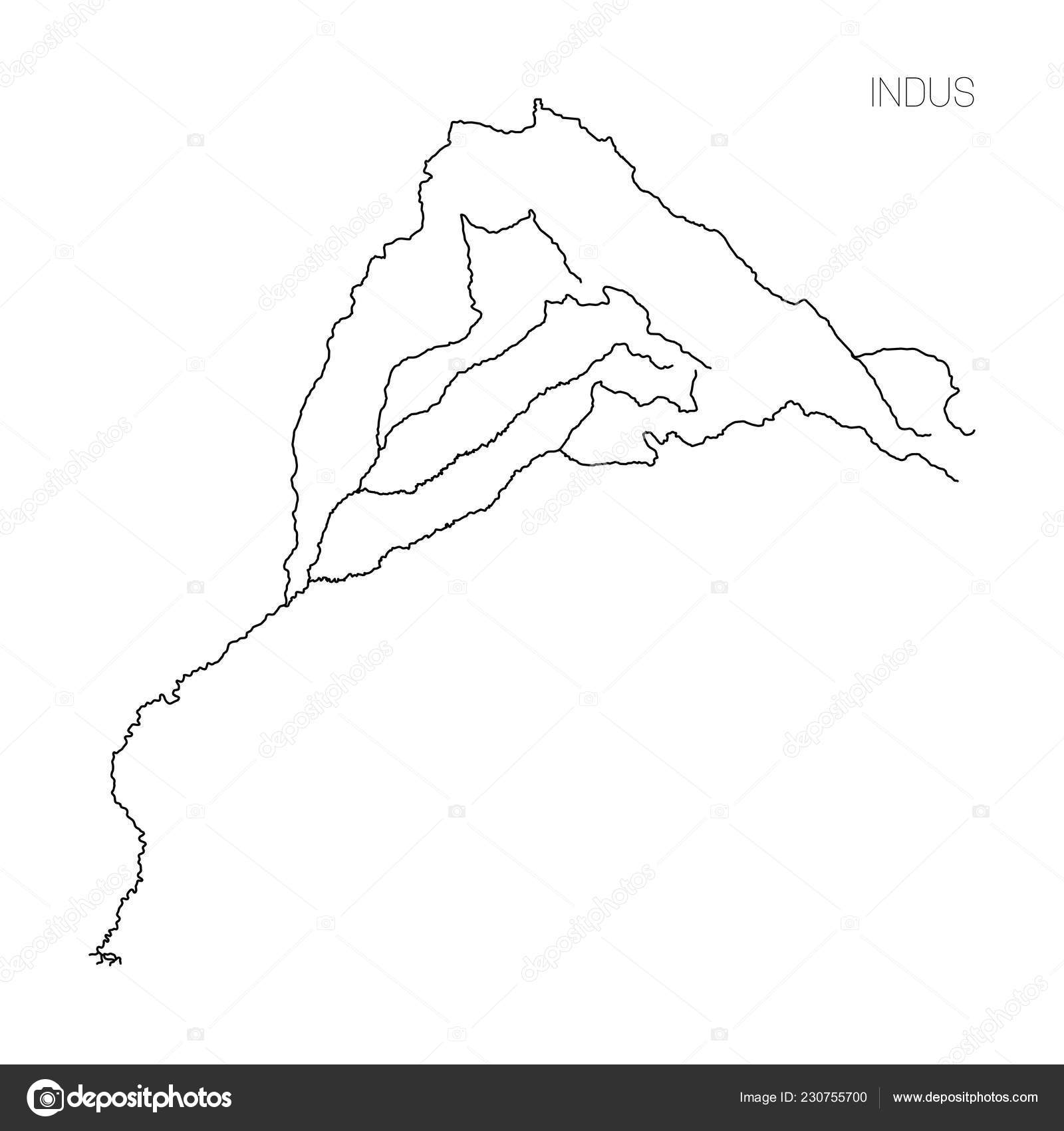 Map of Indus river drainage basin. Simple thin outline ...
