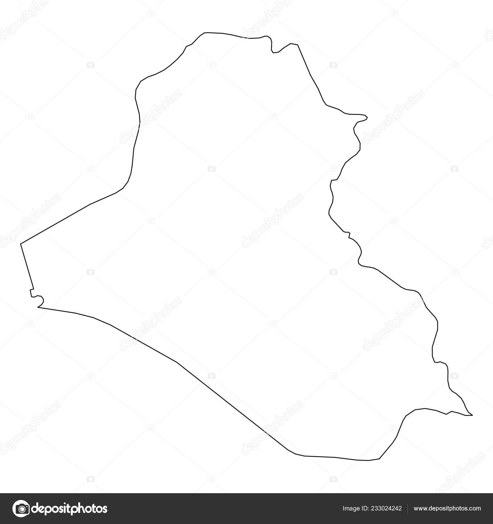 Iraq - solid black outline border map of country area  Simple flat