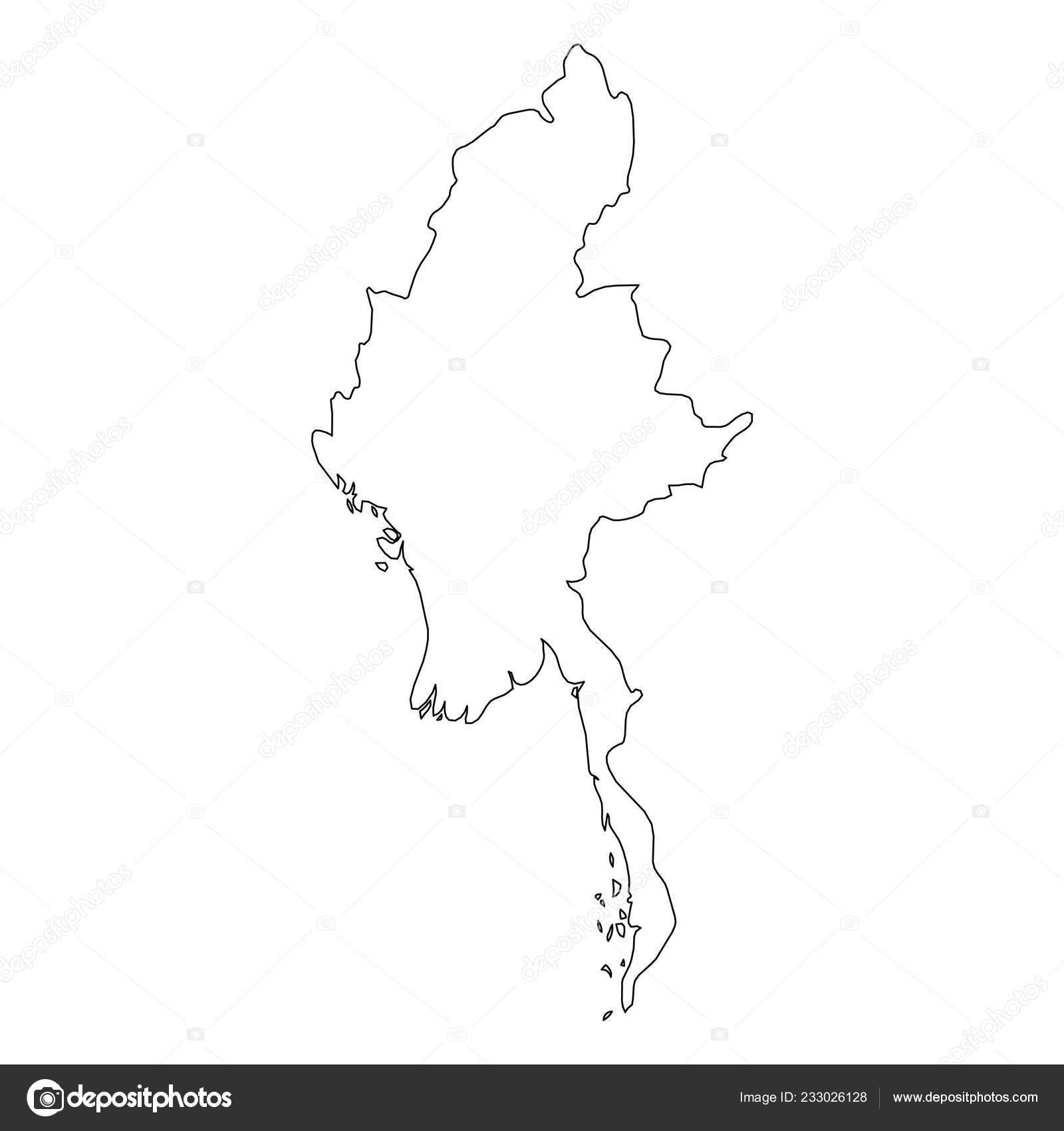 Birmanie Carte Regions.Birmanie Myanmar Contour Noir Solide Frontiere Carte Du Pays D