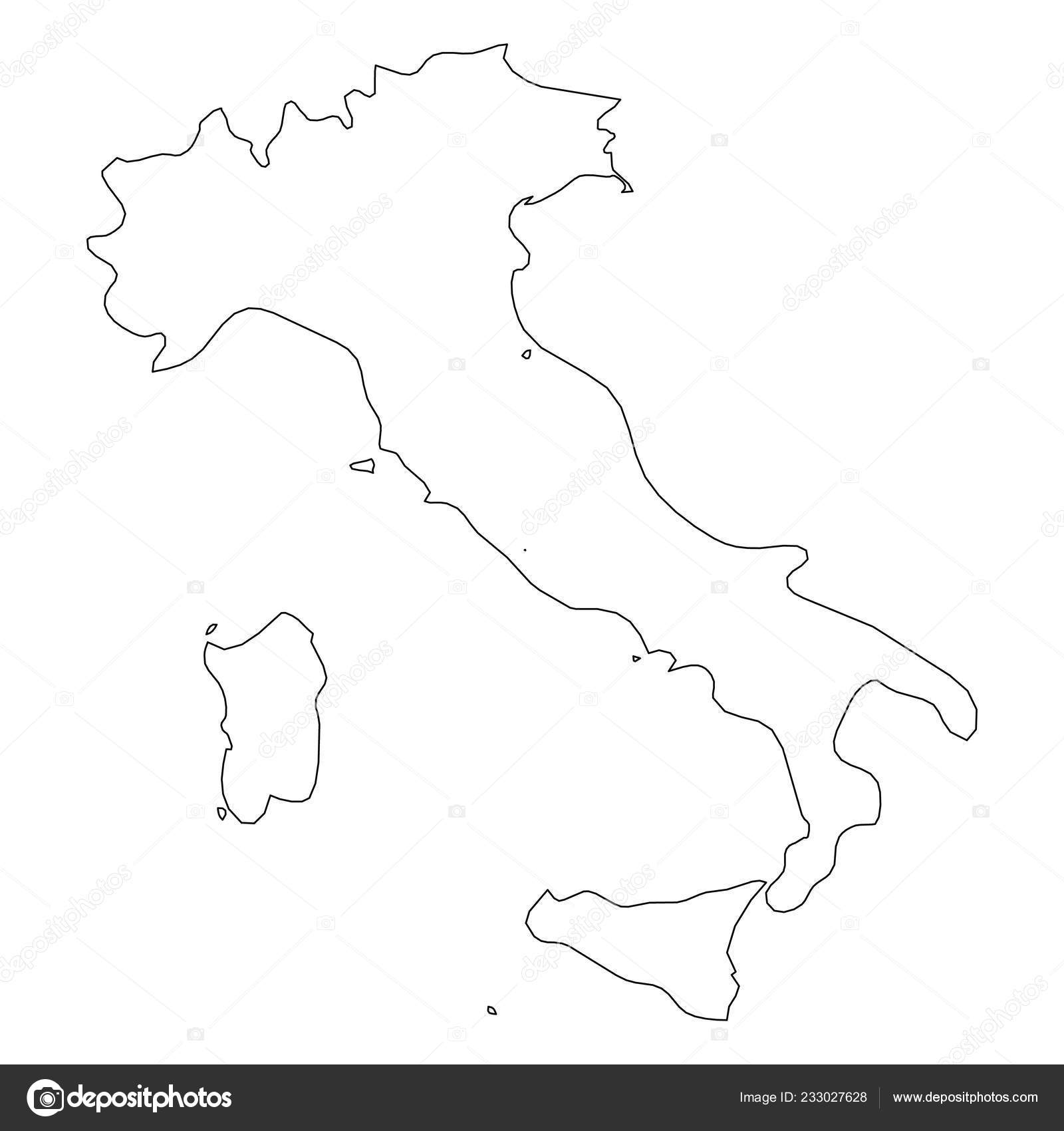 Map Of Italy Simple.Italy Solid Black Outline Border Map Of Country Area Simple Flat