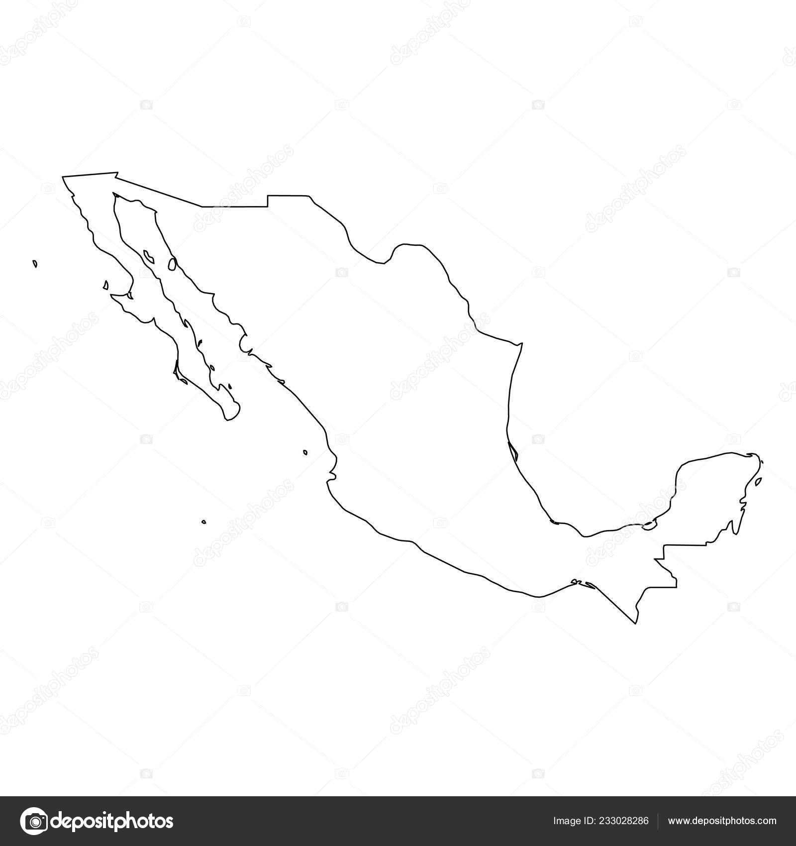 Mexiko Karte Umriss.Mexiko Solide Schwarze Grenze Der Umriss Des Landes