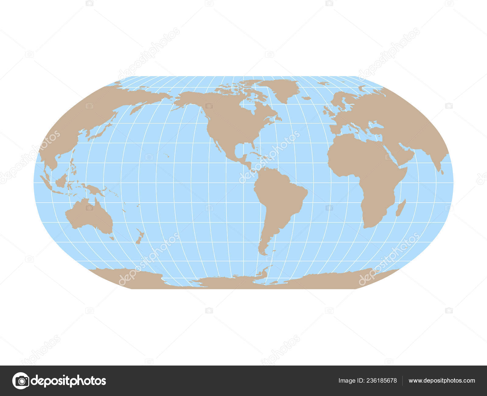 World Map In Robinson Projection With Meridians And Parallels Grid